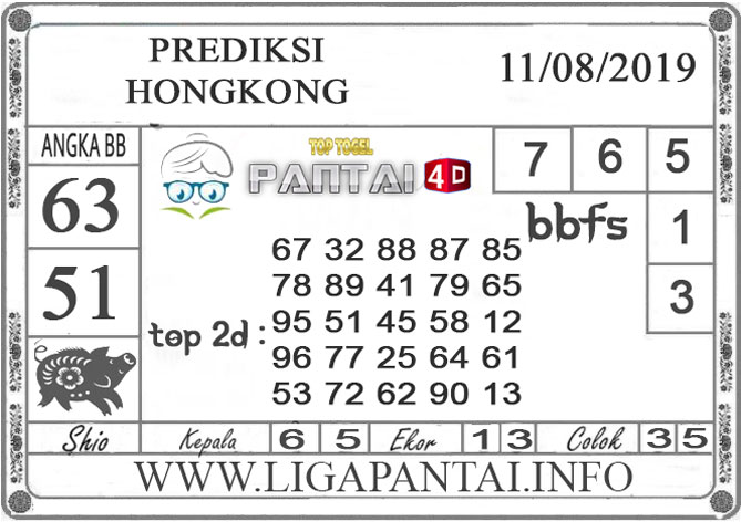 """PREDIKSI TOGEL """"HONGKONG"""" PANTAI4D 11 AGUSTUS 2019"""