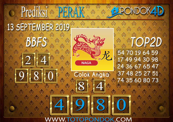 Prediksi Togel PERAK POOLS PONDOK4D 13 SEPTEMBER 2019