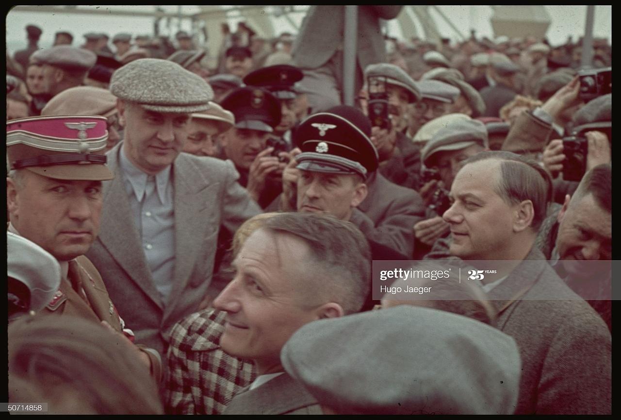 Adolf Hitler on a cruise ship Robert Ley. Photo by Hugo Jeager