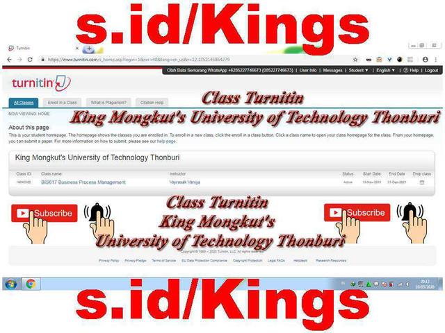 Class Turnitin Student No Repository 2020 University of Technology Thonburi
