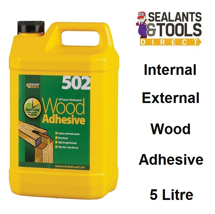 Everbuild 502 Weatherproof Wood Adhesive 5 Litre WOOD5