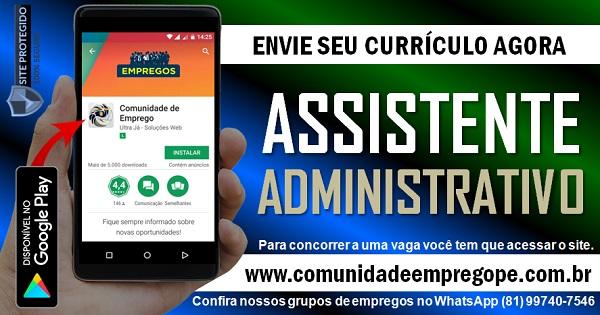 ASSISTENTE ADMINISTRATIVO COM SALÁRIO R$ 1239,00 PARA EMPRESA EM PRAZERES