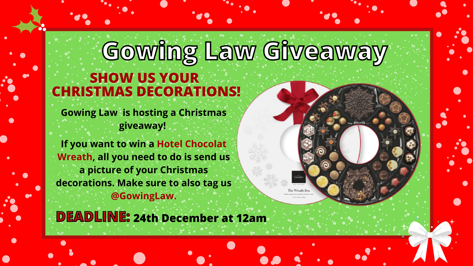 Christmas Holidays decorations giveaway advertisement