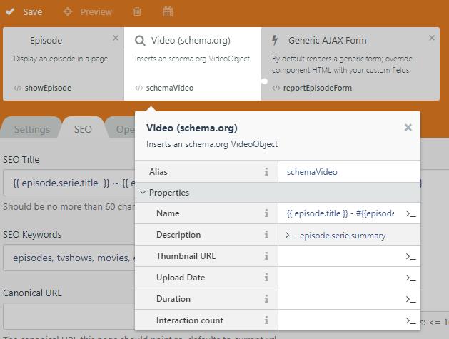 structured data component screenshot