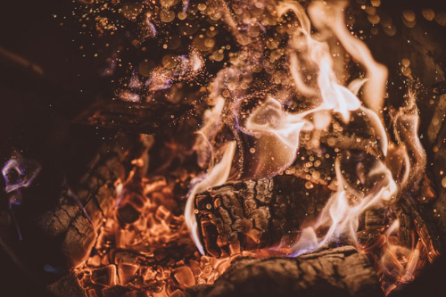 An image of a roaring fire.