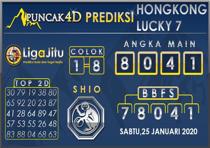 PREDIKSI TOGEL HONGKONG LUCKY7 PUNCAK4D 25 JANUARI 2020