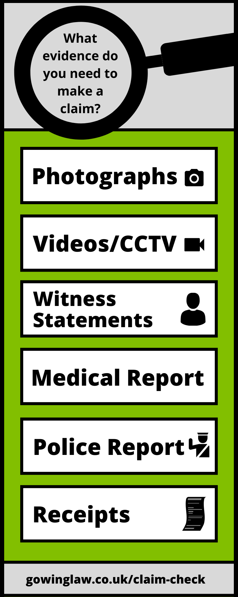 evidence for public accident claims infographic