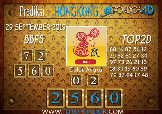 Prediksi Togel HONGKONG PONDOK4D 29 SEPTEMBER 2019