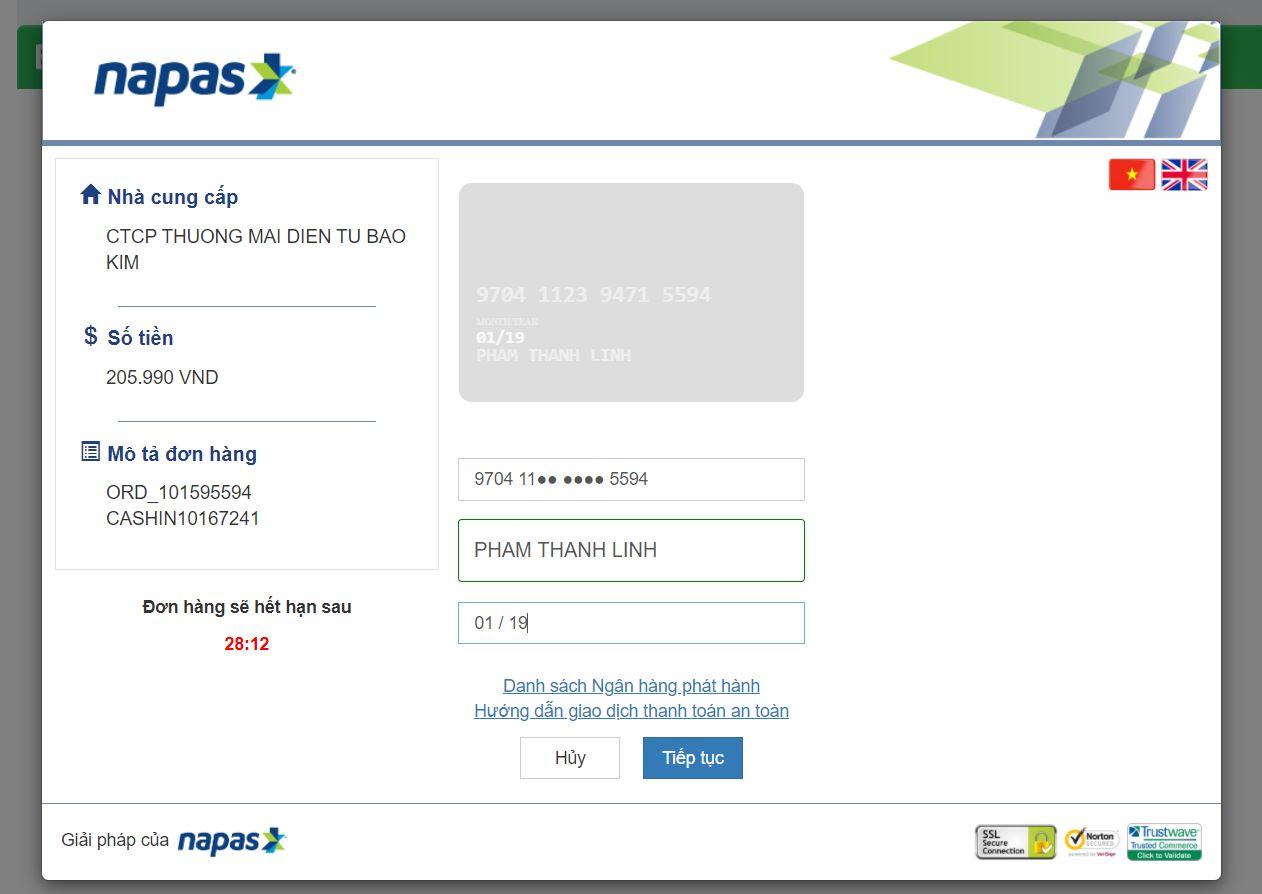 Hướng dẫn nạp tiền vào tài khoản 123doc