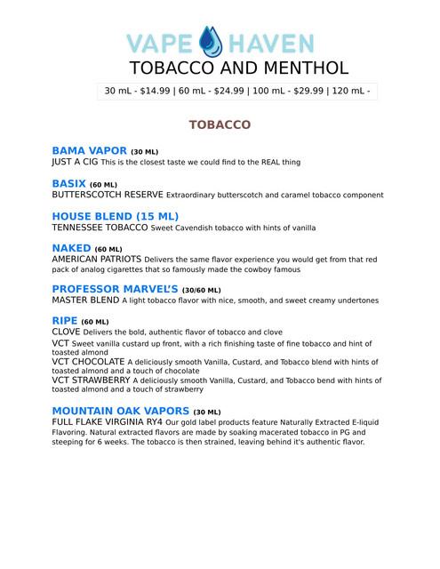 Vape-Haven-Menu-TOBACCO-MENTHOL-1