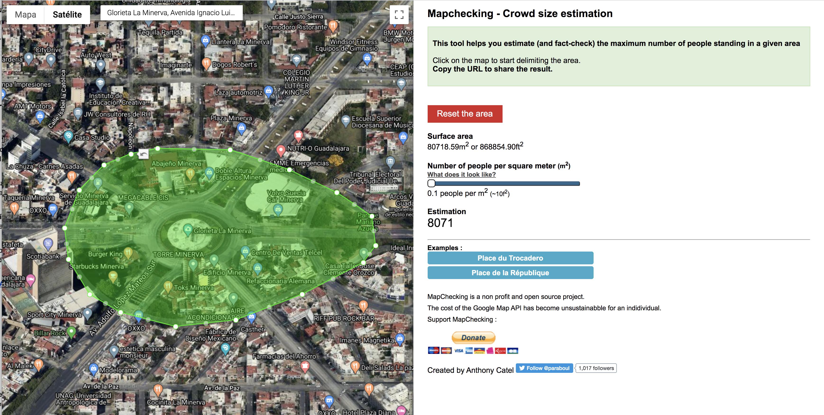 Ejemplo: Trazado de espacio en Mapchecking para calcular el número de asistentes aproximado en un espacio público.