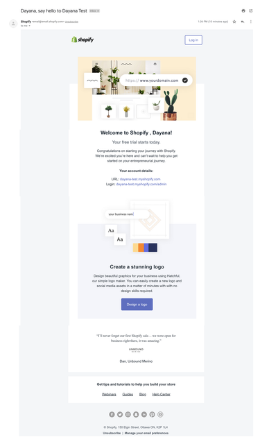 shopify welcome email example