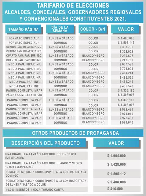 TARIFARIO DE ELECCIONES