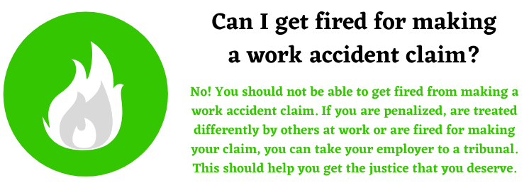 work accident injury claims for getting fired