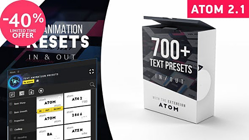 Text Presets | Atom v 2.1 23150189 - Script for After Effects (Videohive)
