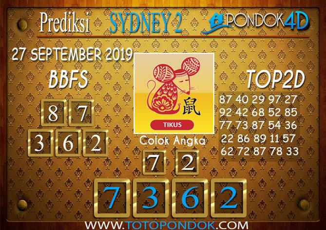Prediksi Togel SYDNEY 2 PONDOK4D 27 SEPTEMBER 2019