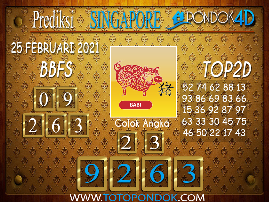 Prediksi Togel SINGAPORE PONDOK4D 25 FEBRUARI 2021