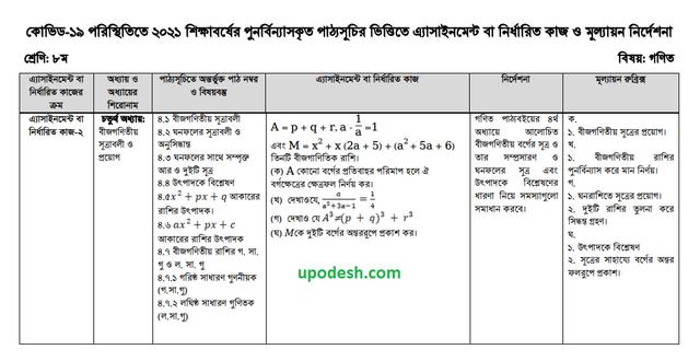 Class 8 Math 7th Week Assignment & Solution 2021