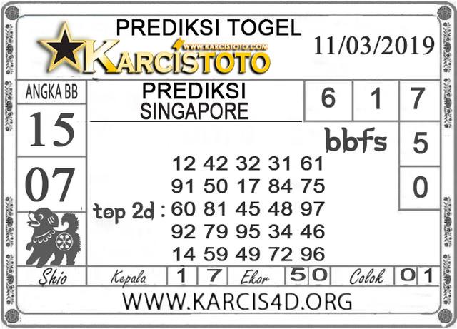 Prediksi Togel SINGAPORE KARCISTOTO 11 MARET 2019