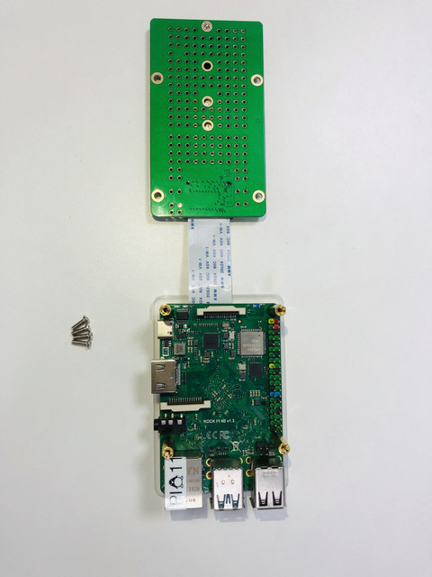 M.2 extended board with 2280 SSD mount on top of ROCK Pi 4.