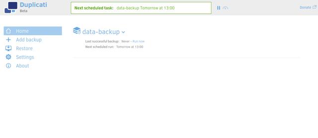 Duplicati backup created