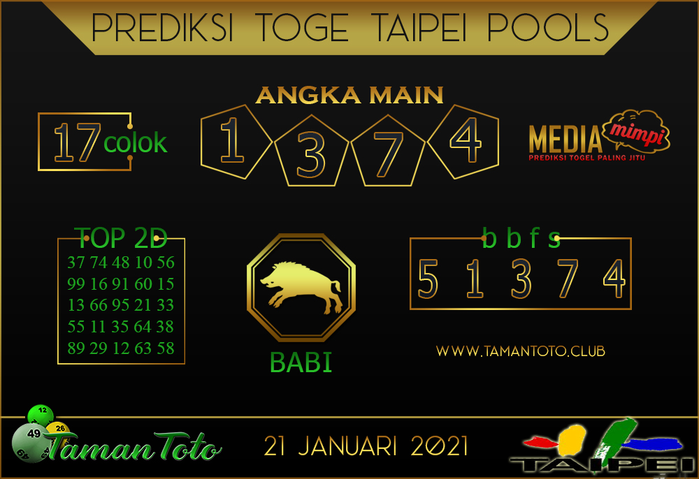 Prediksi Togel TAIPEI TAMAN TOTO 21 JANUARI 2021
