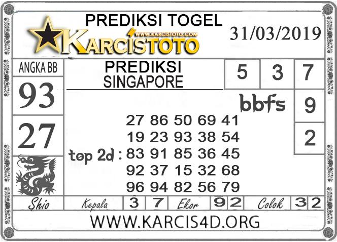Prediksi Togel SINGAPORE KARCISTOTO 31 MARET 2019