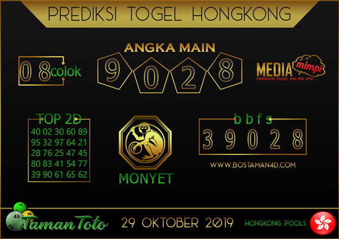 Prediksi Togel HONGKONG TAMAN TOTO 29 OKTOBER 2019