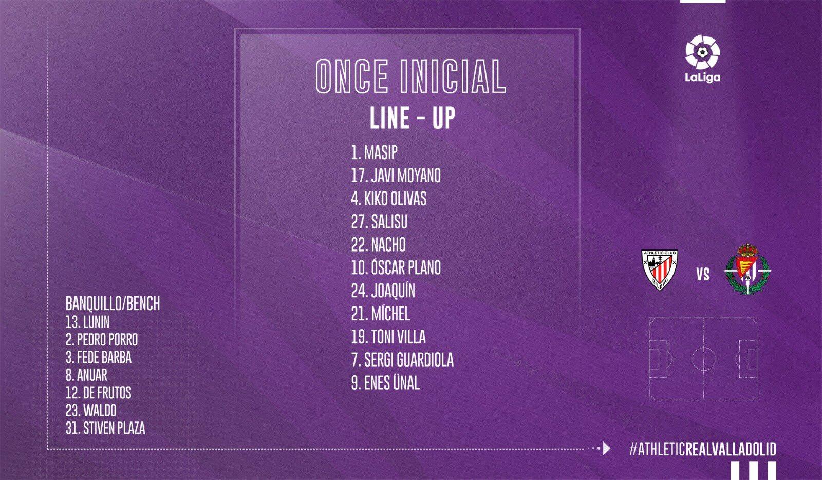 Athletic Club de Bilbao - Real Valladolid. Domingo 20 de Octubre. 18:30 - Página 2 Alineacion-vs-Athletic