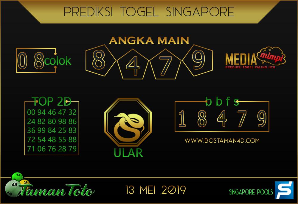 Prediksi Togel SINGAPORE TAMAN TOTO 13 MEI 2019