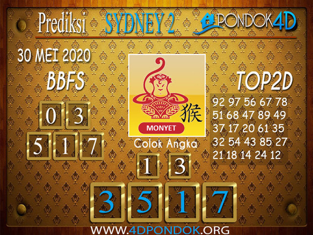Prediksi Togel SYDNEY 2 PONDOK4D 30 MEI 2020