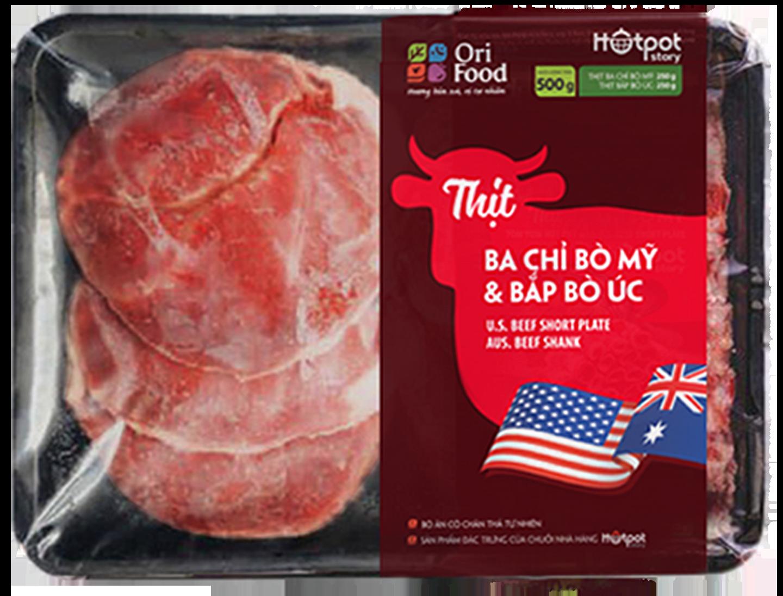 Hotpot Story- Ba Chỉ Bò Mỹ+ Bắp Bò Úc- Khay- 500gr- Ori Food