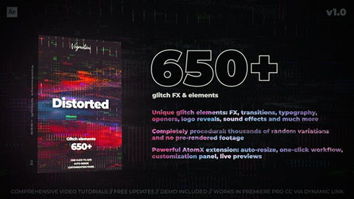 650+ Glitch Elements 29662551 - Project & Script for After Effects (Videohive)