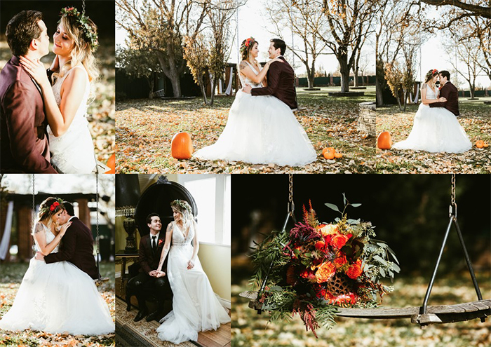 Shots of fall wedding with pumpkins and flowers