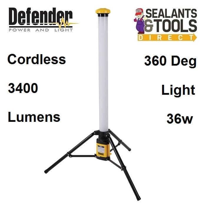 Defender Cordless Battery Powered LED Floor Standing Work Site Light V2