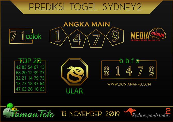 Prediksi Togel SYDNEY 2 TAMAN TOTO 13 NOVEMBER 2019