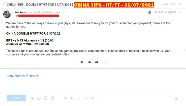 CHINA DOUBLE HT/FT FIXED MATCHES FOR 31/07/2021