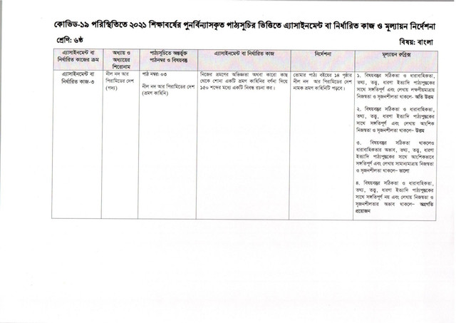 Class 6 Bangla Assignment Solution (9th Week)