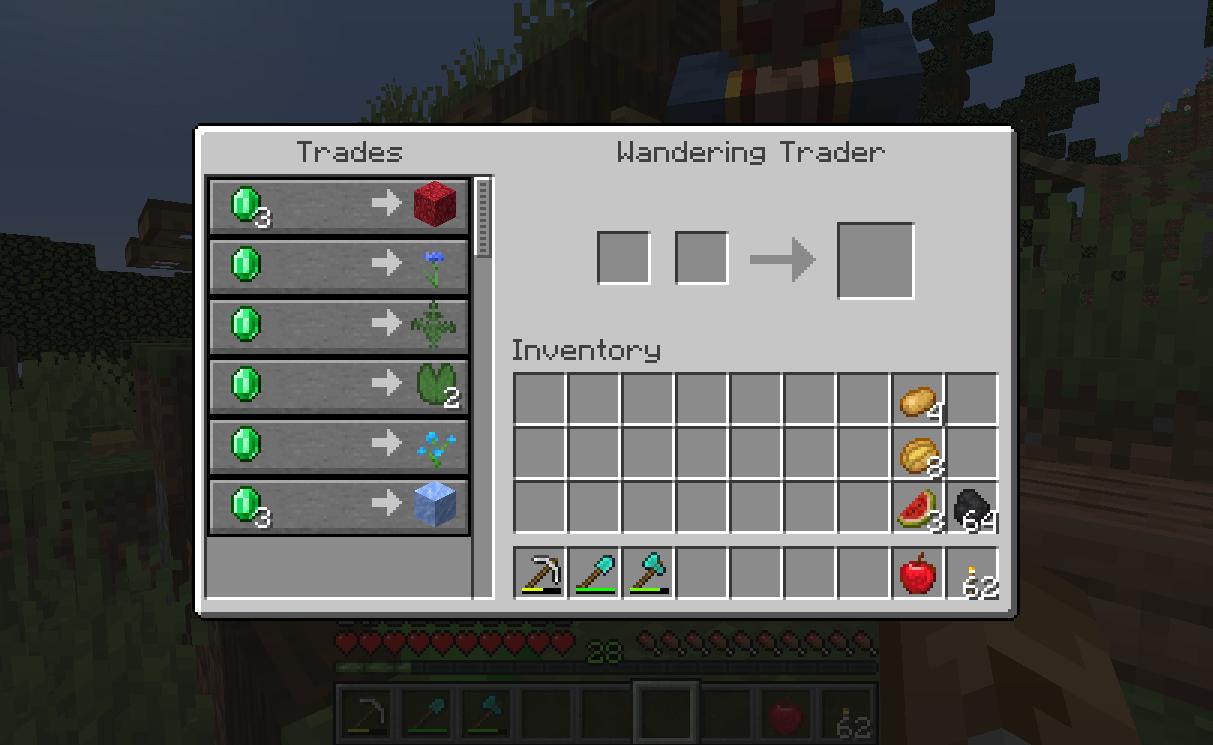 Wandering trader trades