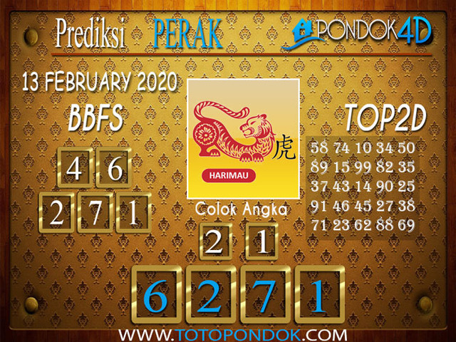 Prediksi Togel PERAK PONDOK4D 13 FEBRUARY 2020