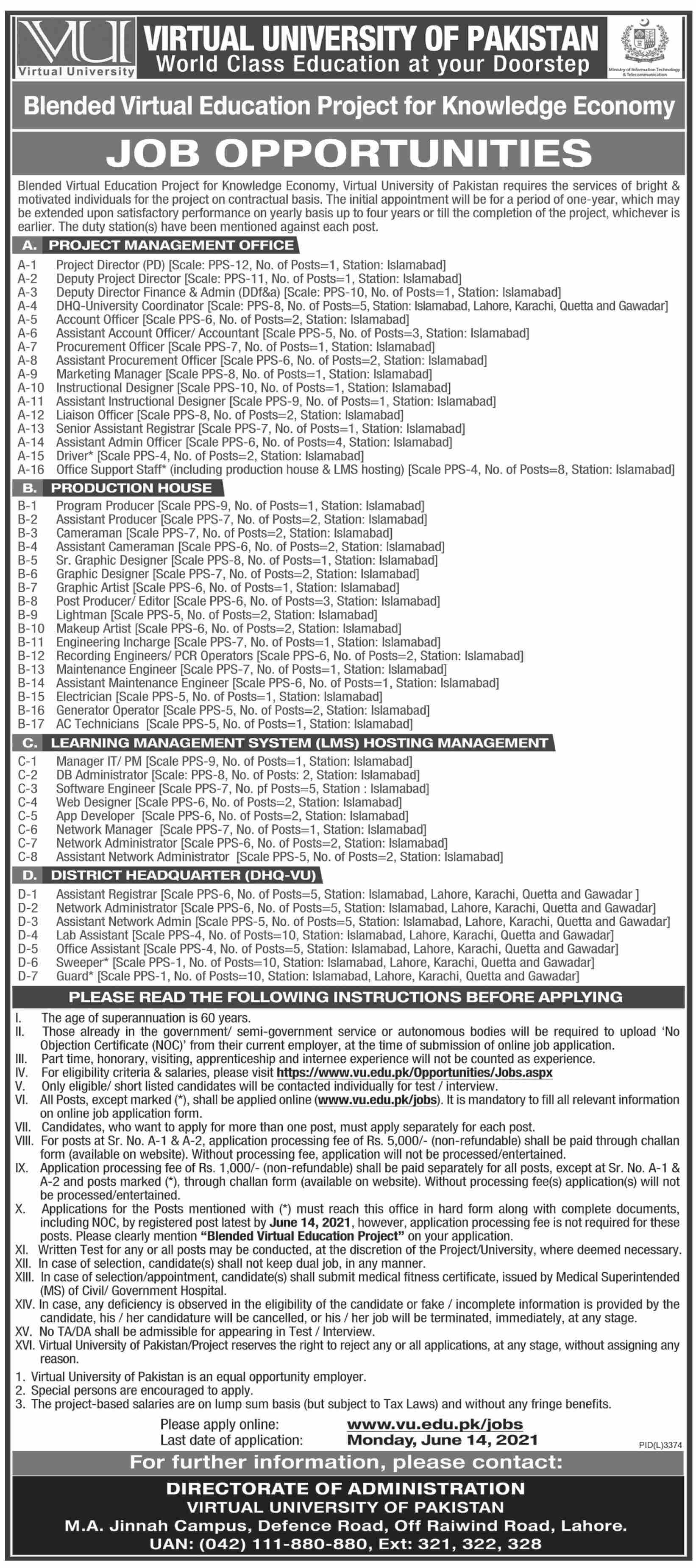 Virtual University Job vacancies 2021 advertisement