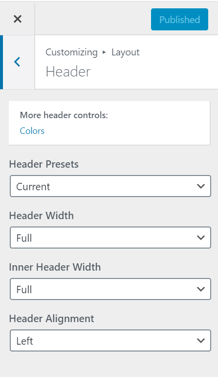 Header option not visible