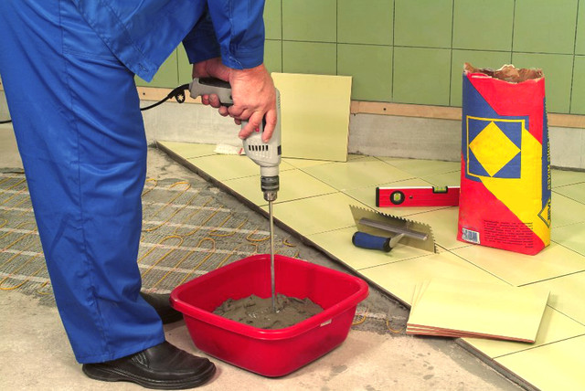 Приготовления раствора для плитки