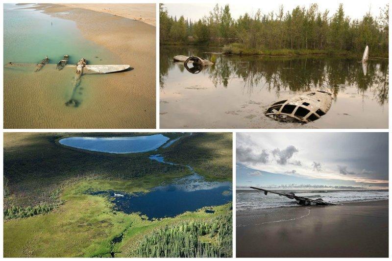В воде, около воды, в болотах и под водой заброшенные, кладбище, самолеты, факты