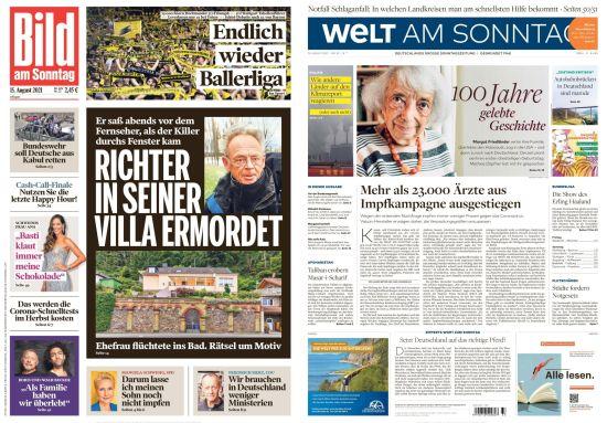 Cover: Bild und Welt am Sonntag No 33 vom 15  August 2021