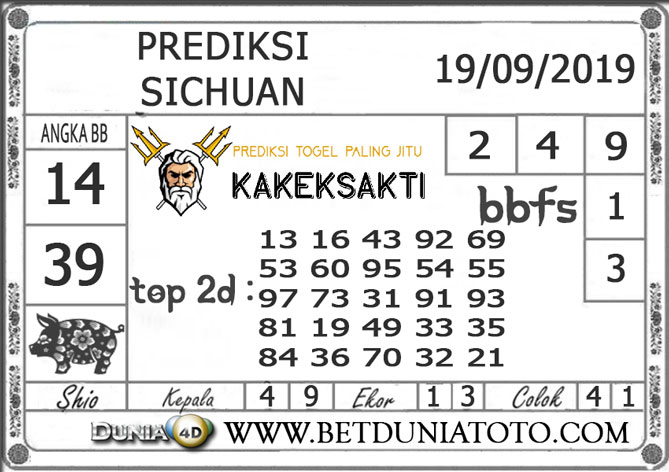 "Prediksi Togel ""SICHUAN"" DUNIA4D 19 SEPTEMBER 2019"