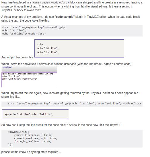 TinyMCE - Line breaks in <pre><code> get removed, when