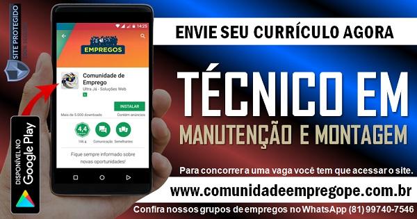 TÉCNICO EM MANUTENÇÃO E MONTAGEM ELÉTRICA, FOCO EM SISTEMA HIDRÁULICOS COM SALÁRIO  R$ 1450,00