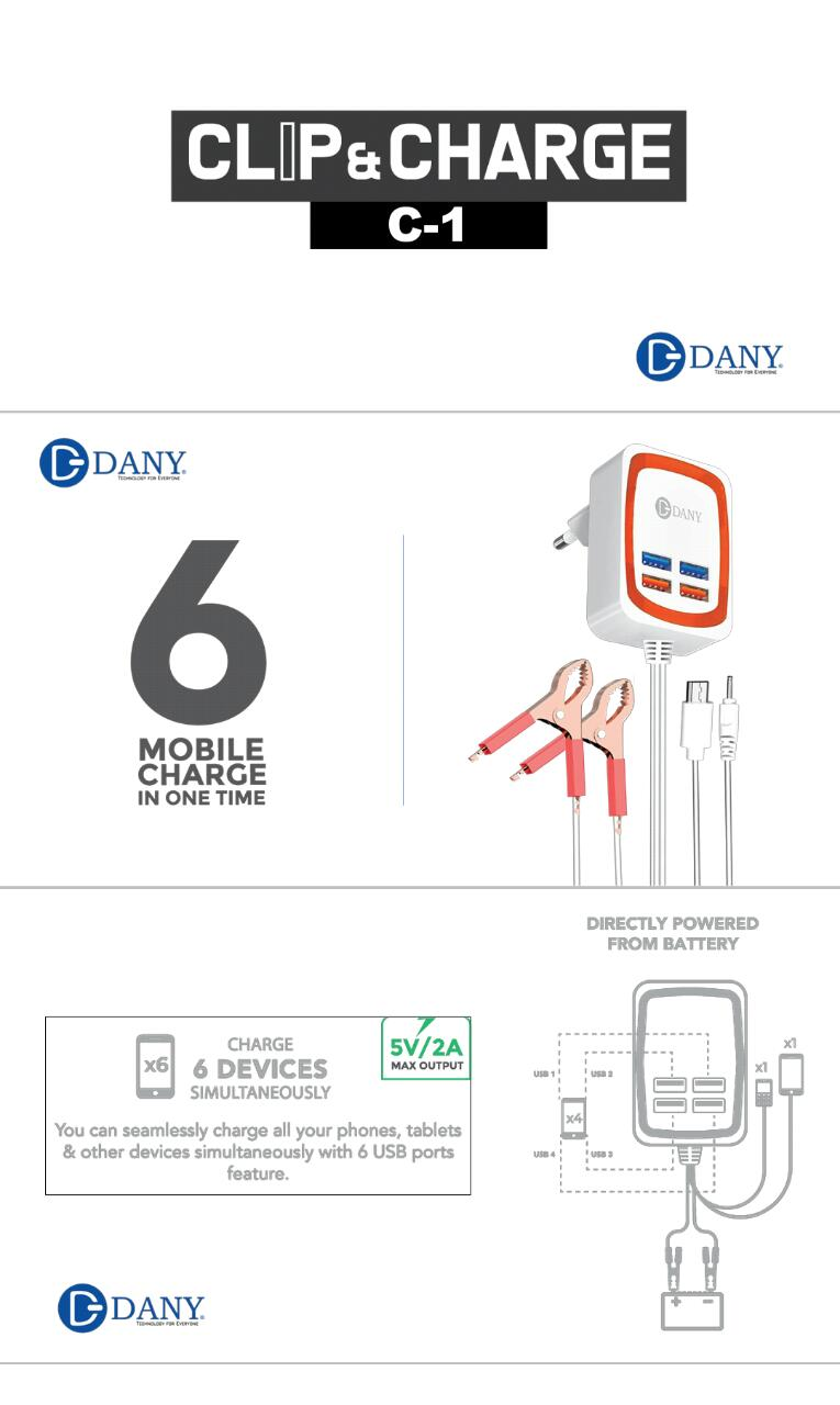 Dany Clip and Charge C1 Multi Port USB Charger