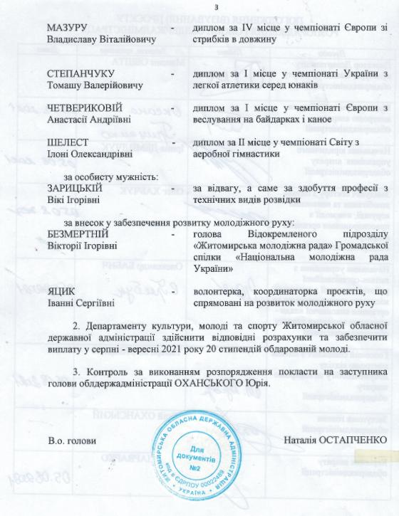 ob stip3 - Житомирська ОДА виплатить по 10 тис. грн стипендій 20 представникам обдарованої молоді. Список